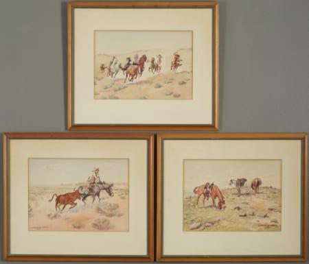 Lot 017: Group of 3 Leonard Reedy Watercolors