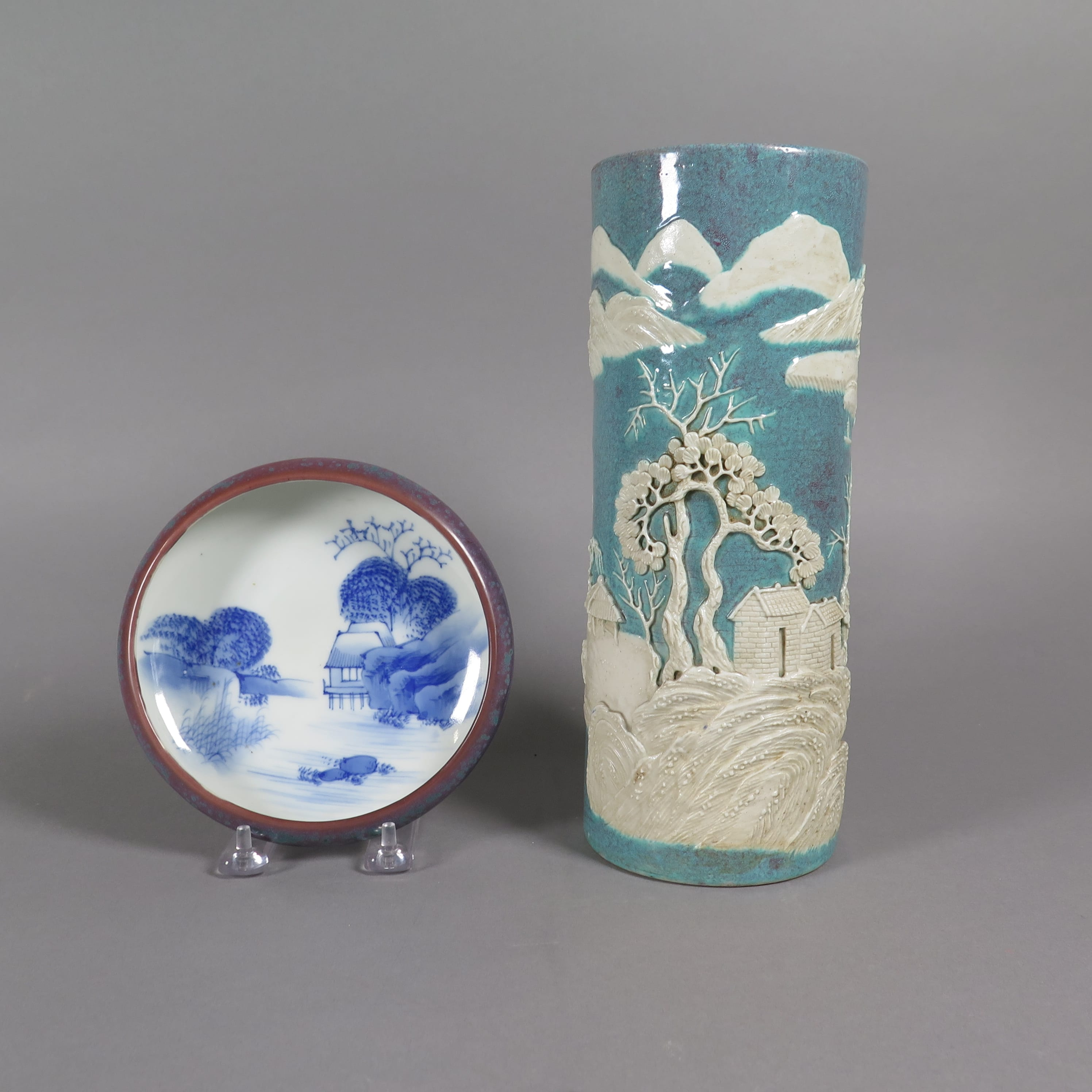 Lot 223: Group of 2 Chinese and Japanese Ceramics Robin's Egg