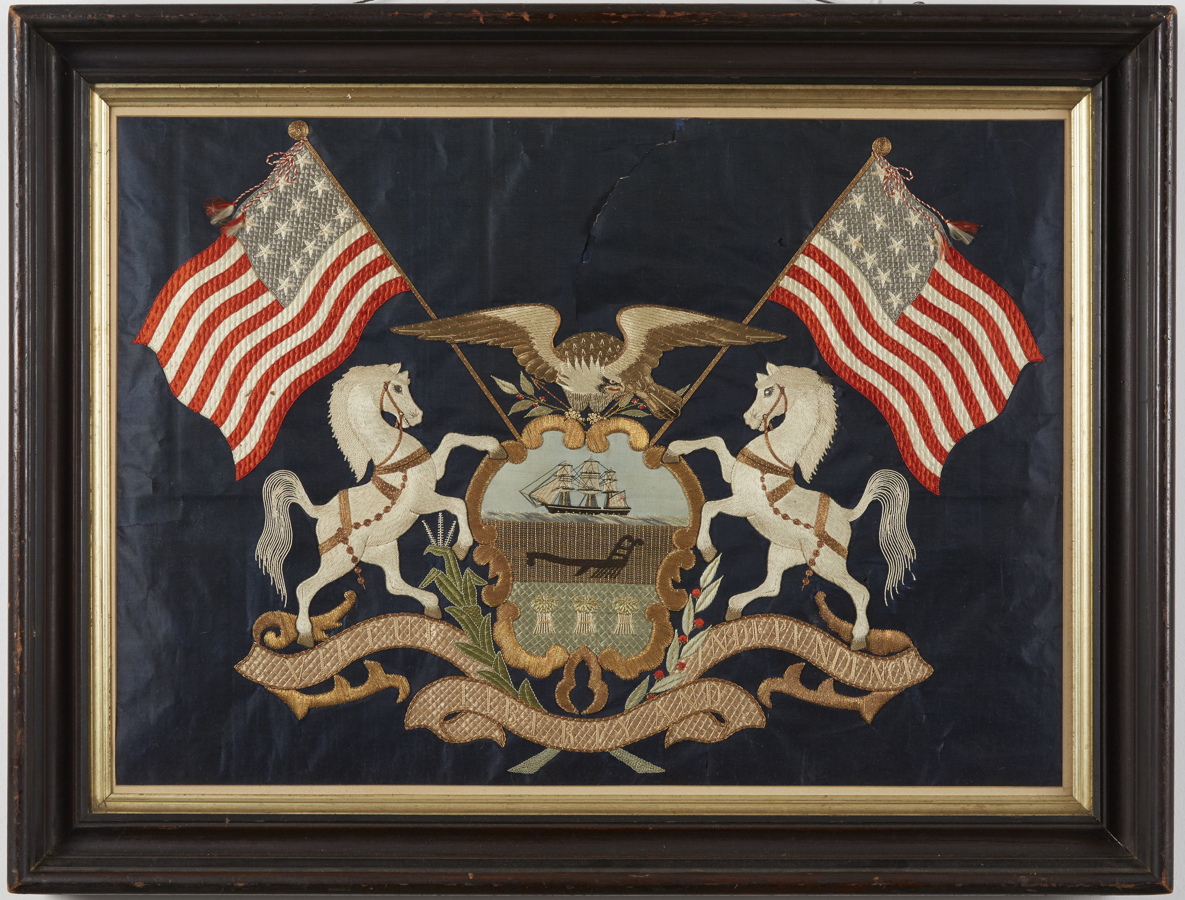 Lot 140: Embroidered Silk Pennsylvania State American Flag