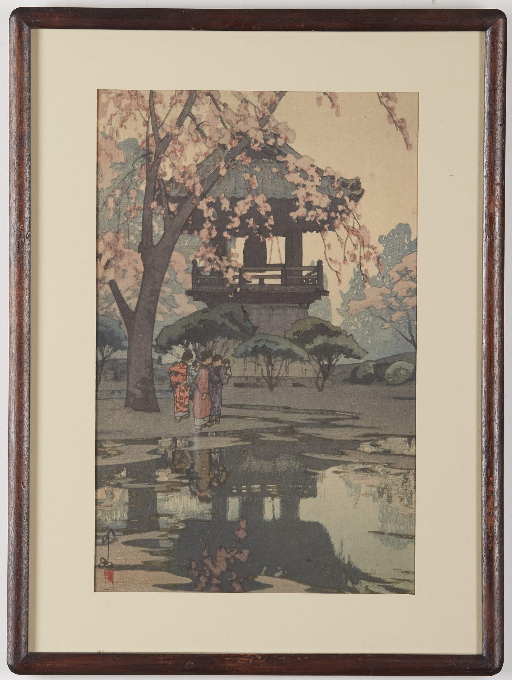 Lot 094: Hiroshi Yoshida In a Temple Yard Woodblock Print