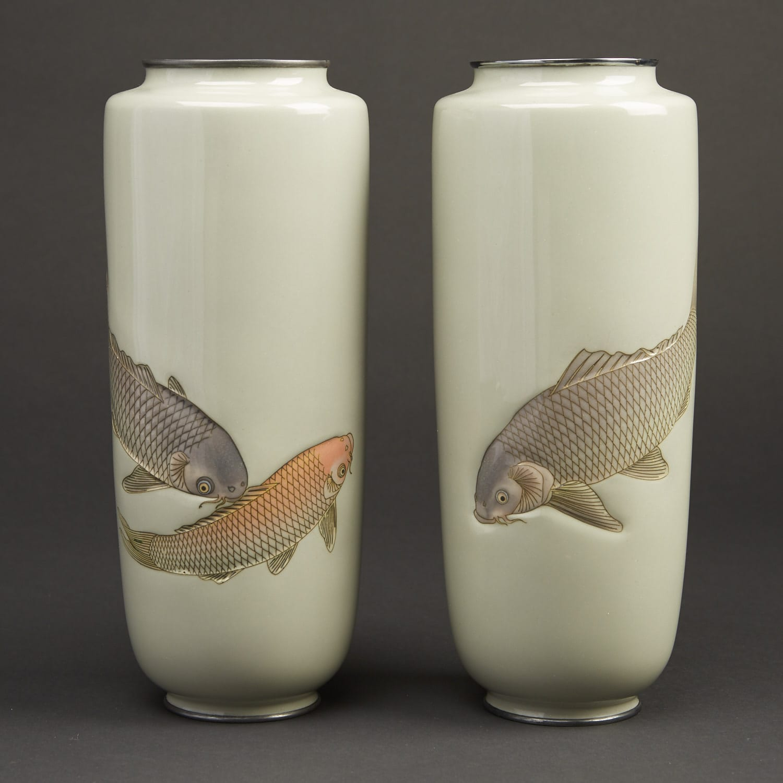 Lot 026: Hattori Tadasaburo Japanese Cloisonne Carp Vases