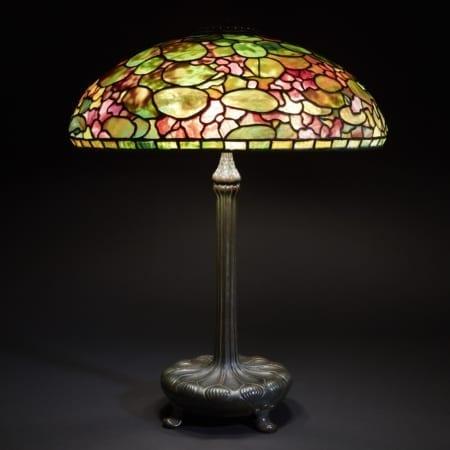 Lot 064: Tiffany Studios Leaded Glass and Bronze Nasturtium Table Lamp
