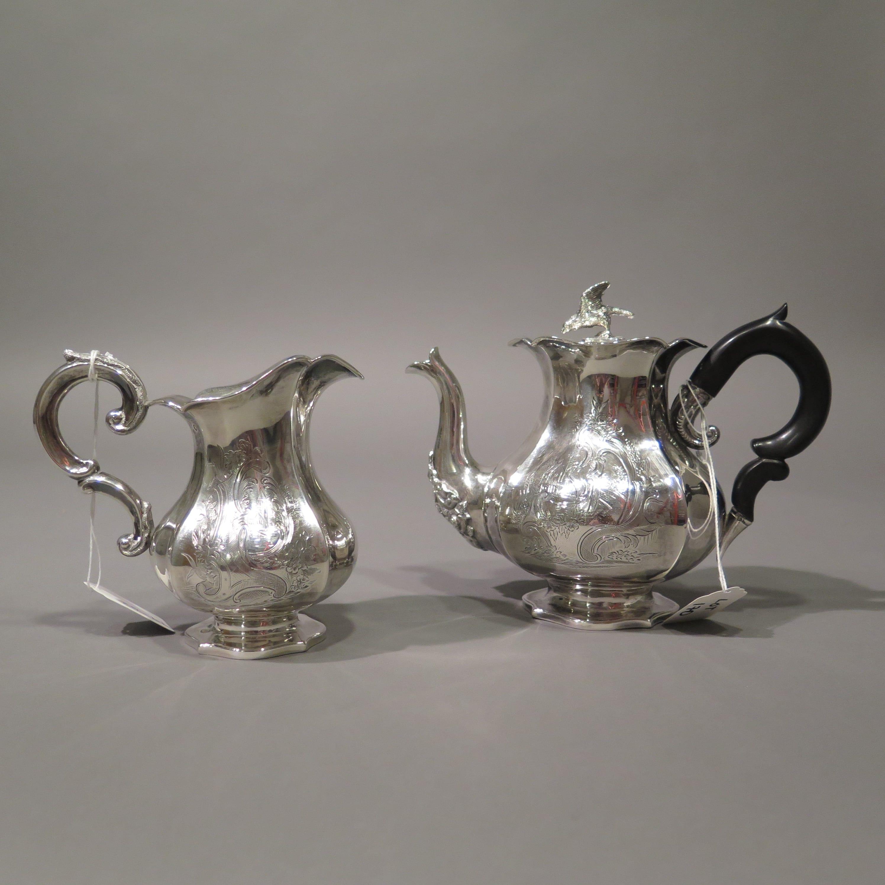 Lot 170: Silver Creamer Teapot Sugar Dish and Tray