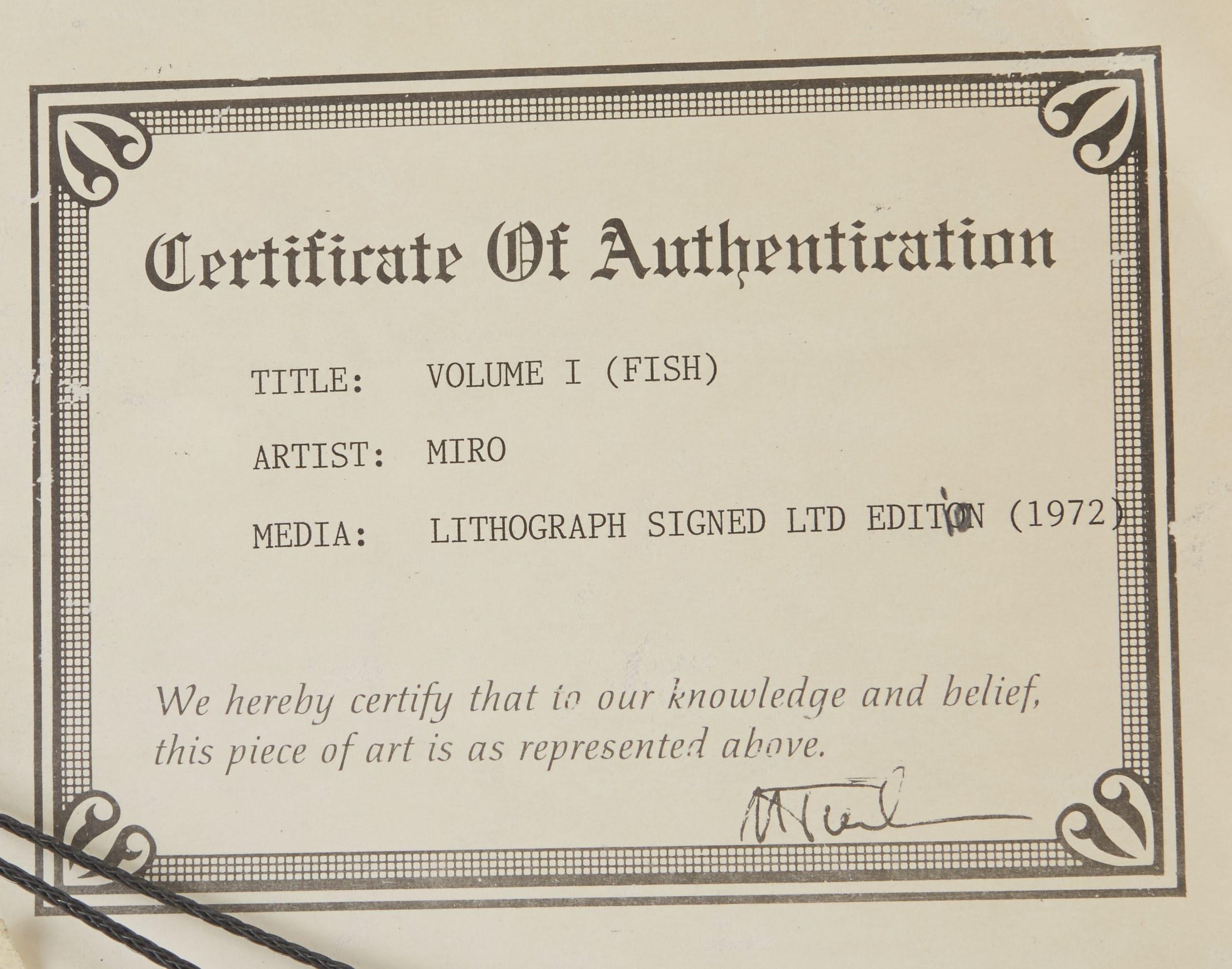 Lot 241: Joan Miro Volume 1 Fish Lithograph