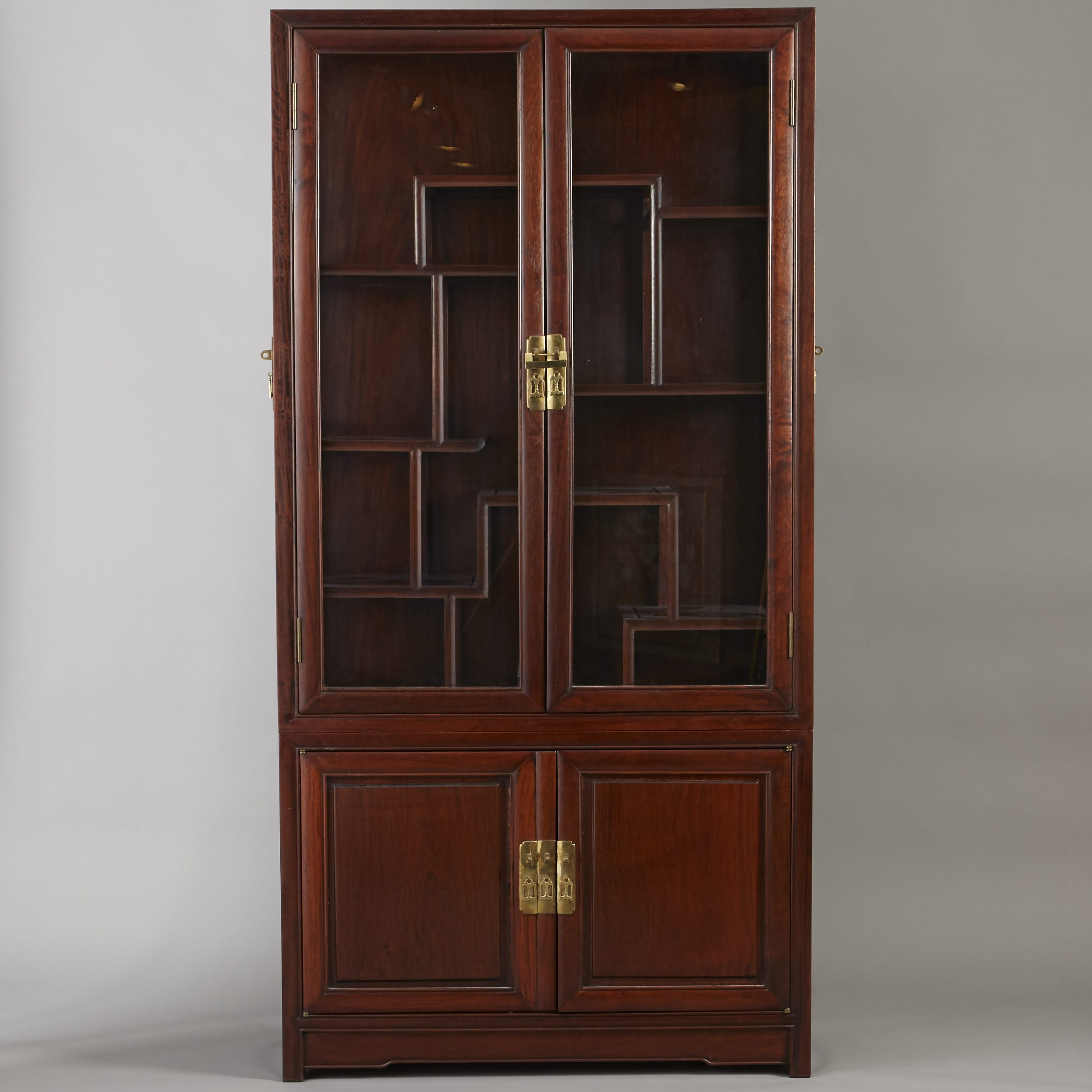 Lot 268: Large Chinese Teak Display Cabinet