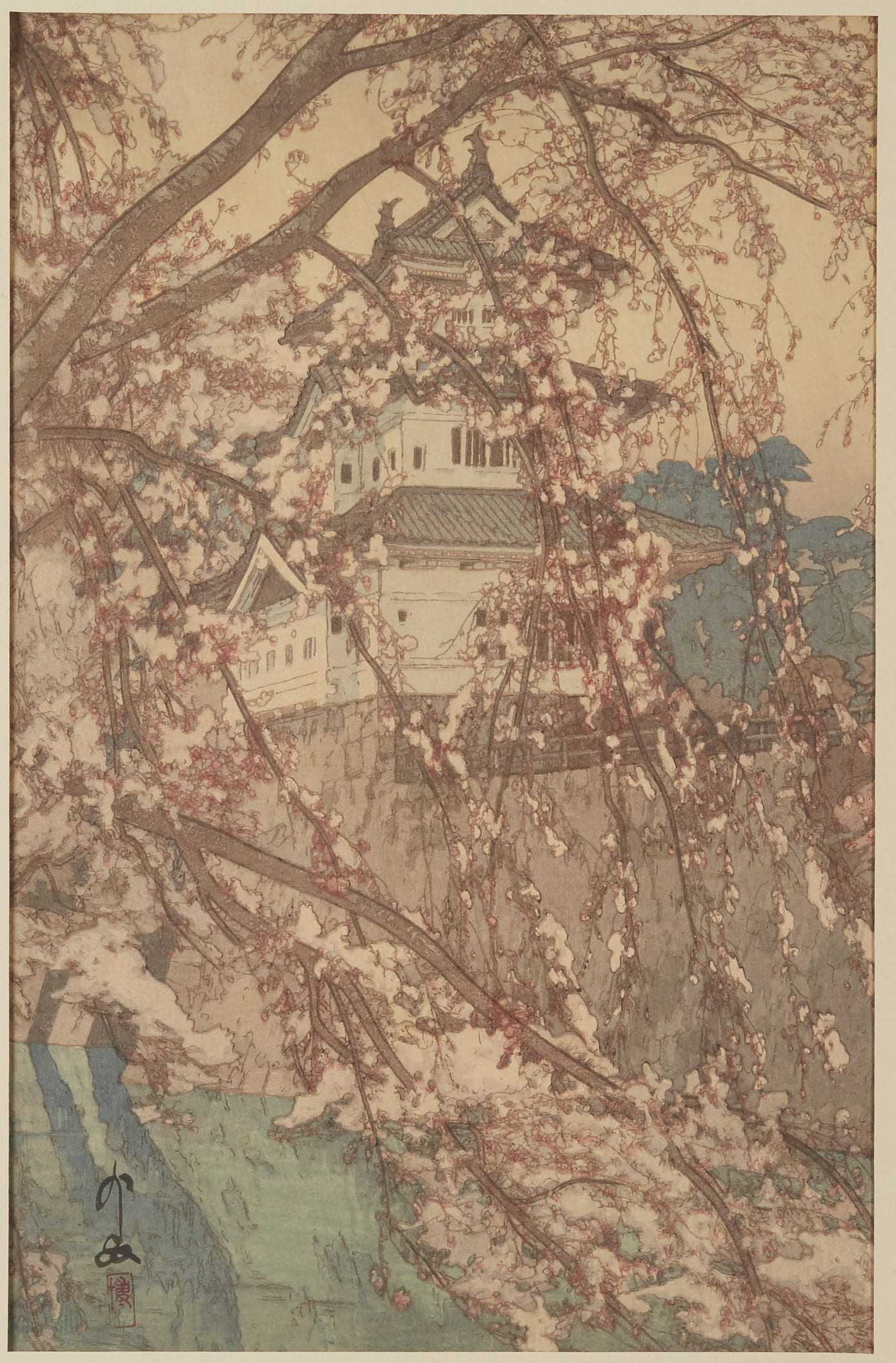 Lot 091: Hiroshi Yoshida Hirosaki Castle Woodblock Print