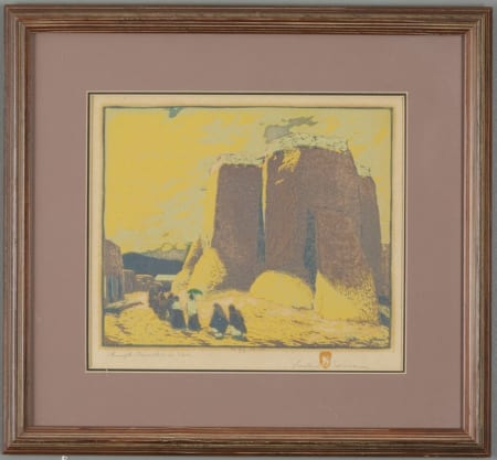 Lot 013: Gustave Baumann Church Ranchos de Taos Color Woodcut