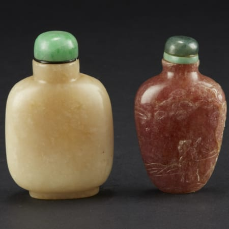 Lot 034: 2 Chinese Hard Stone and Jade Snuff Bottles Asian Art and Decorative Art (Day Two) - Sep 29 2018 Asian Art