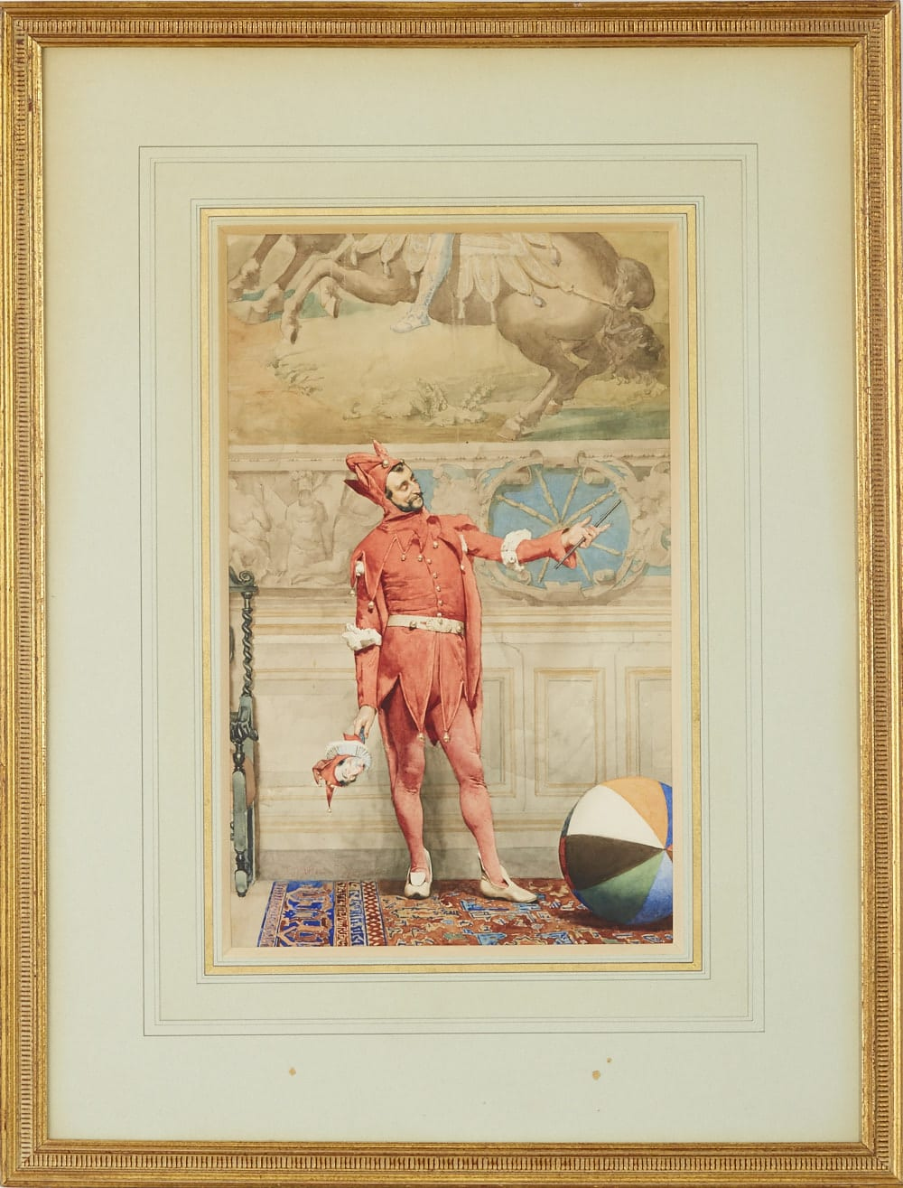 Lot 068: Jehan Georges Vibert Jester Watercolor
