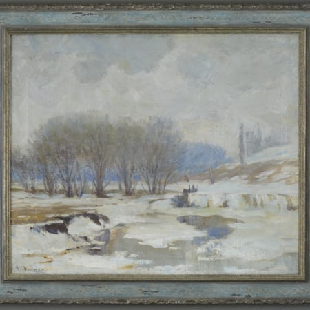 Lot 002: Nicholas Brewer Winter Landscape Oil on Canvas