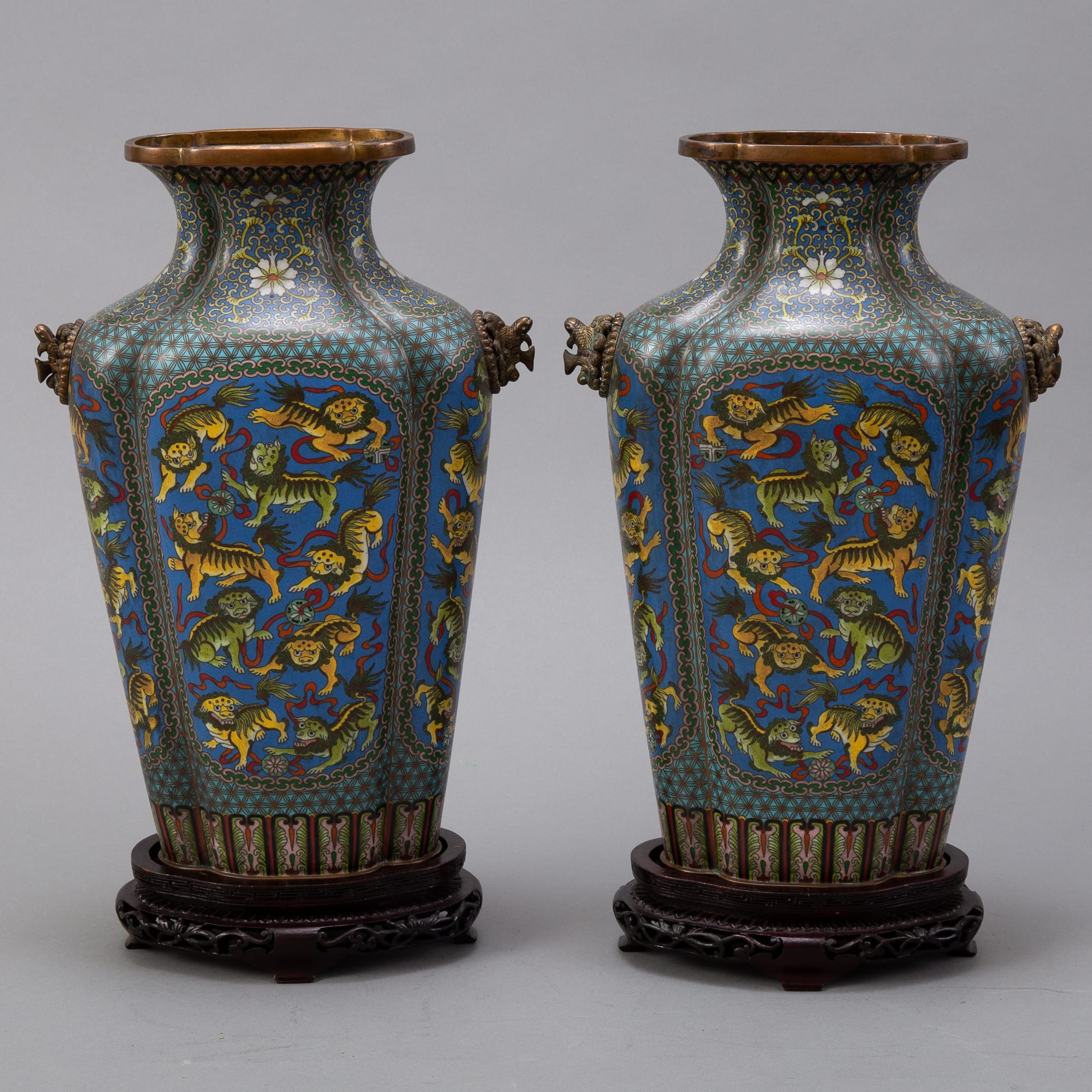 Lot 017: Pr 20th c. Japanese Cloisonne Vases with Foo Dogs