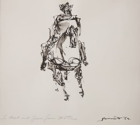 """Walter Quirt """"Rider on a Horse"""" Drawing Revere Now"""