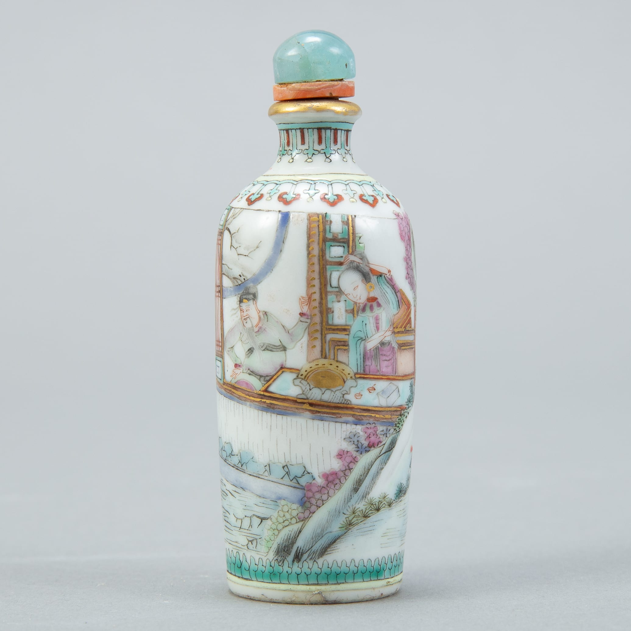 Lot 222: Chinese Qing Famille Rose Snuff Bottle - Marked