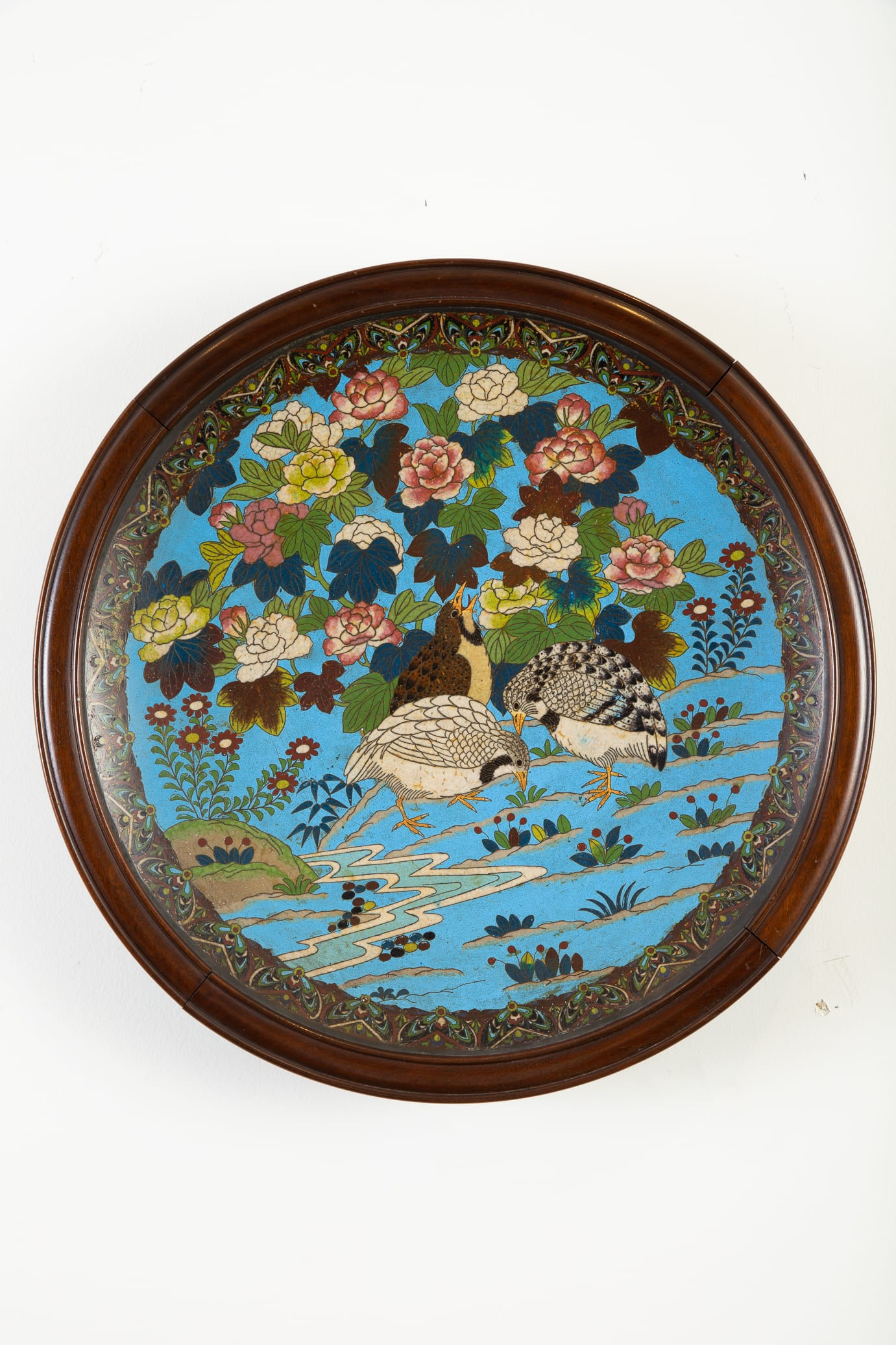 Lot 021: Japanese Meiji Cloisonne Tray with Flowers Birds