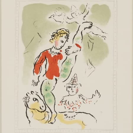 "Lot 018: Marc Chagall Color Lithograph ""Little Red Acrobat"""