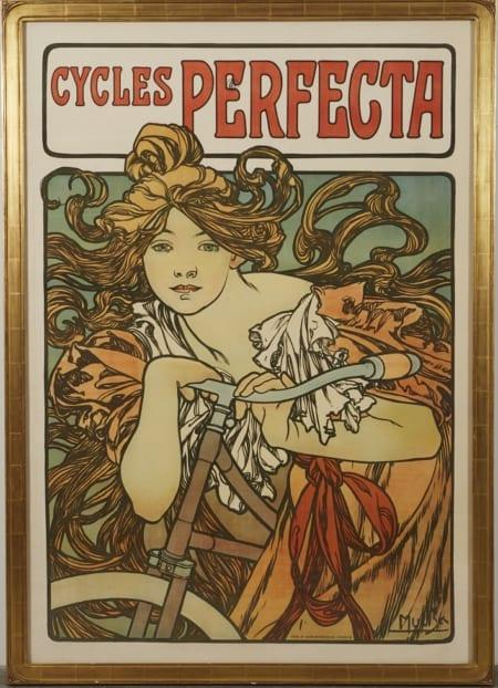 Lot 034: Alphonse Mucha Cycles Perfecta Poster