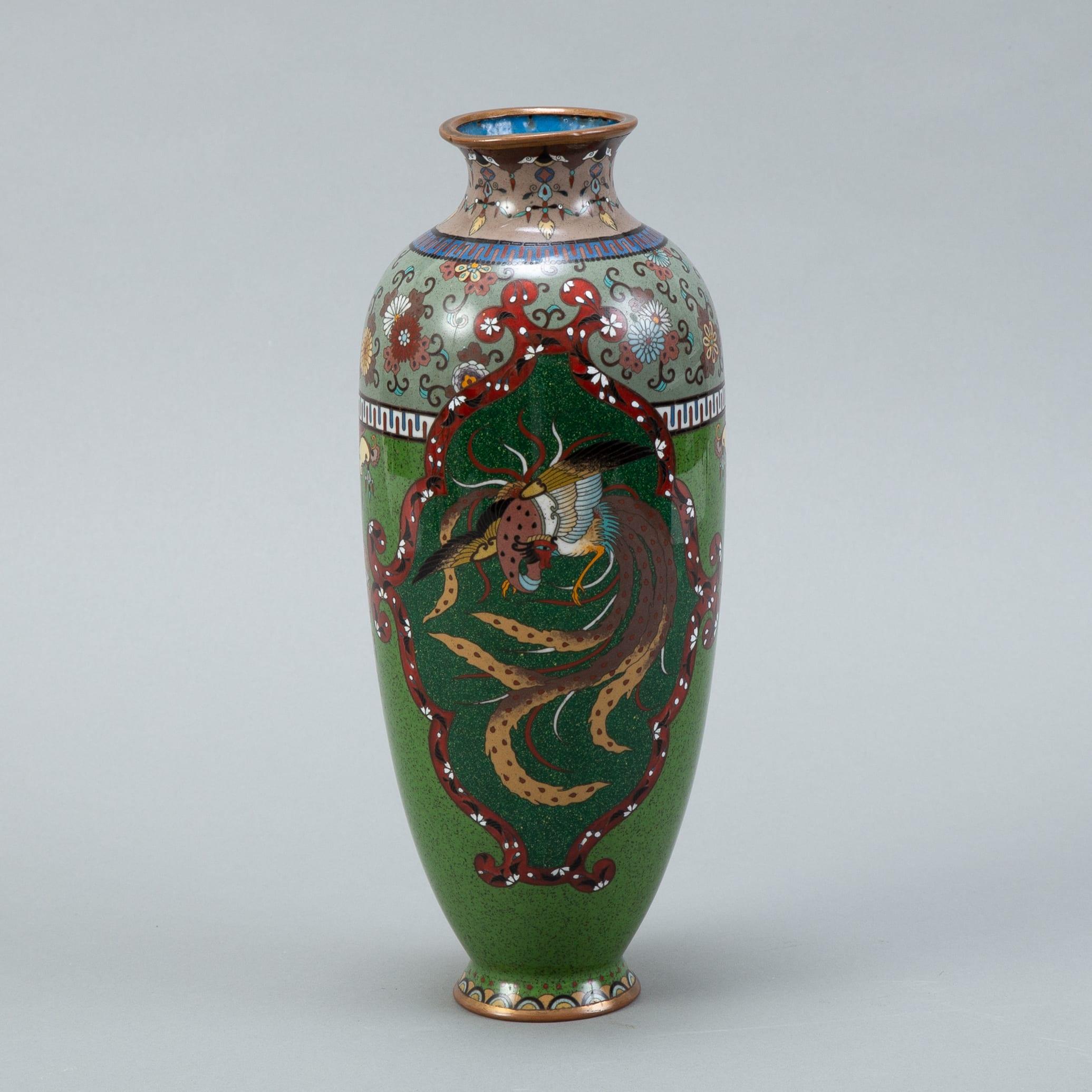 Lot 012: Japanese Meiji Cloisonne Vase - Phoenix