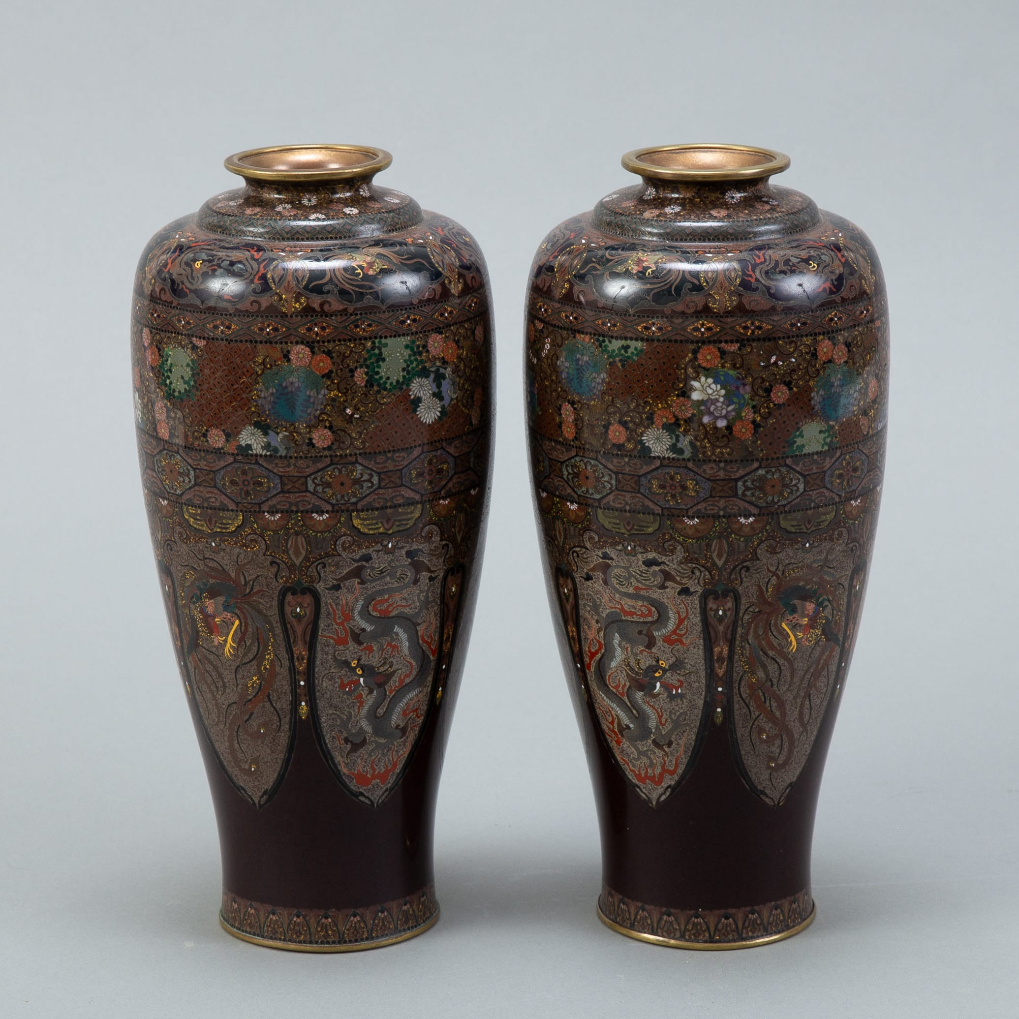 Lot 013: Japanese Meiji Mirrored Pair of Cloisonne Vases