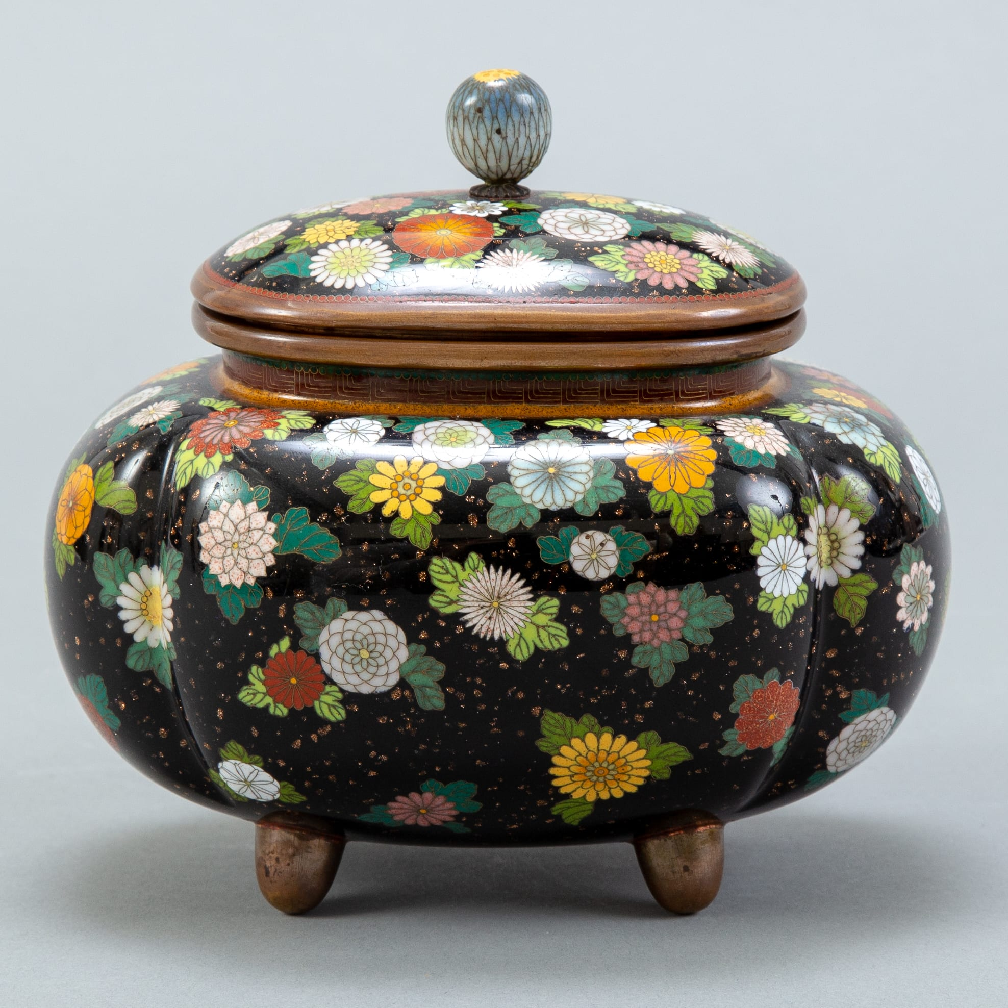 Lot 014: Japanese Meiji Cloisonne Covered Urn
