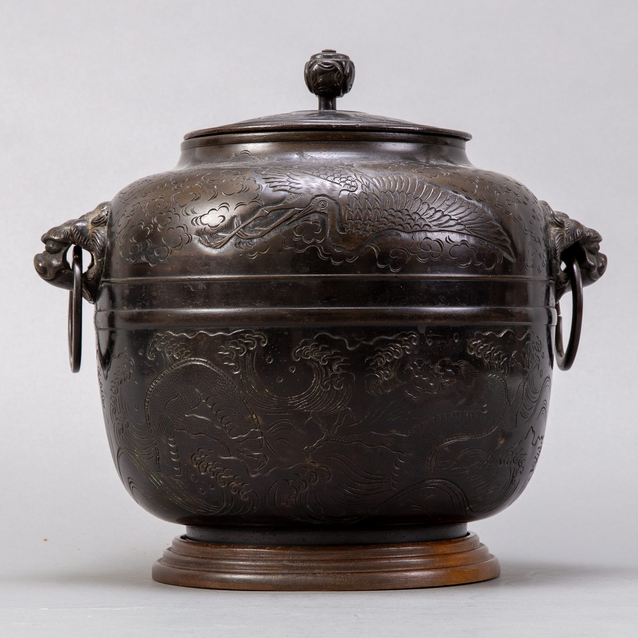 Lot 004: 19th c. Japanese Covered Bronze Pot in Oval Form