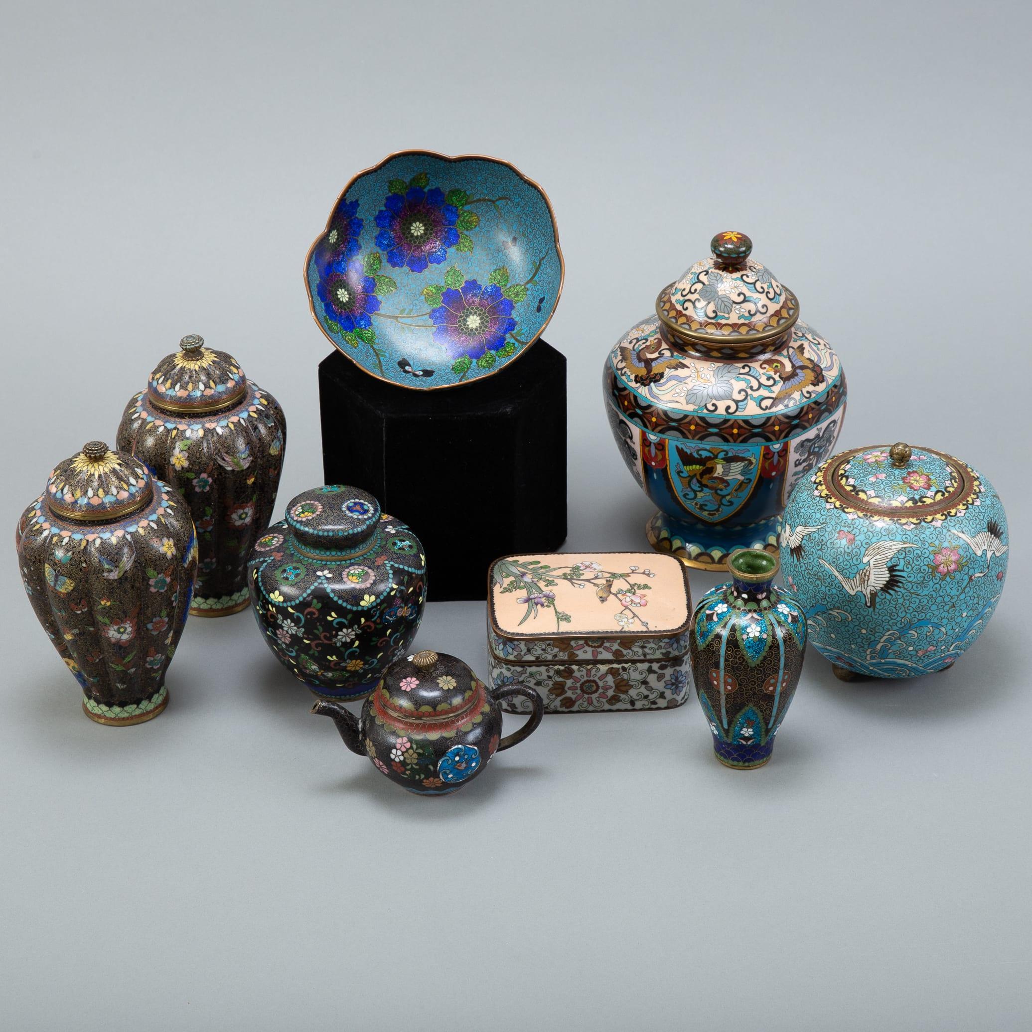 Lot 025: Grp: 9 Japanese Meiji Cloisonne vases boxes