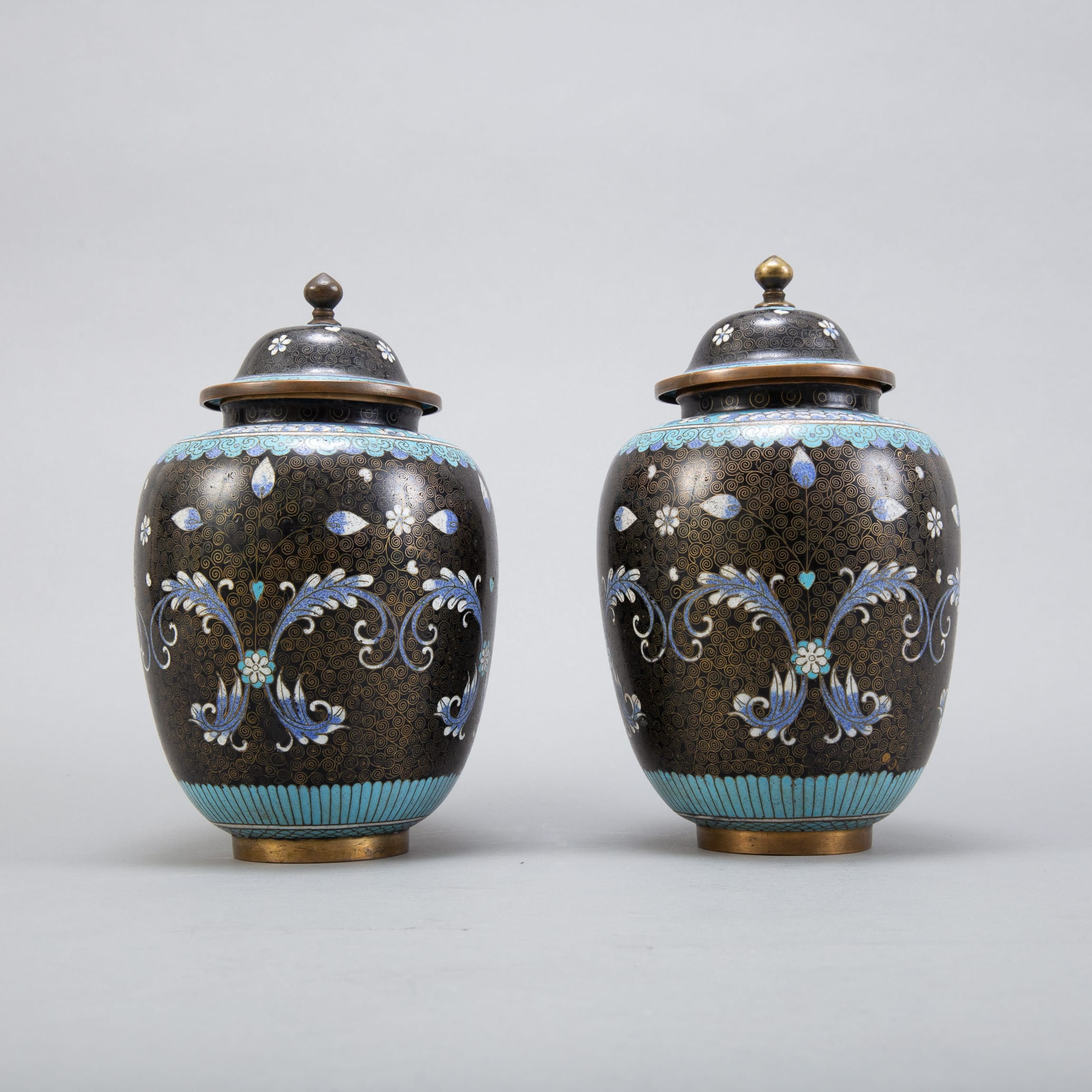 Lot 018: Pair 20th c. Chinese Cloisonne Vases