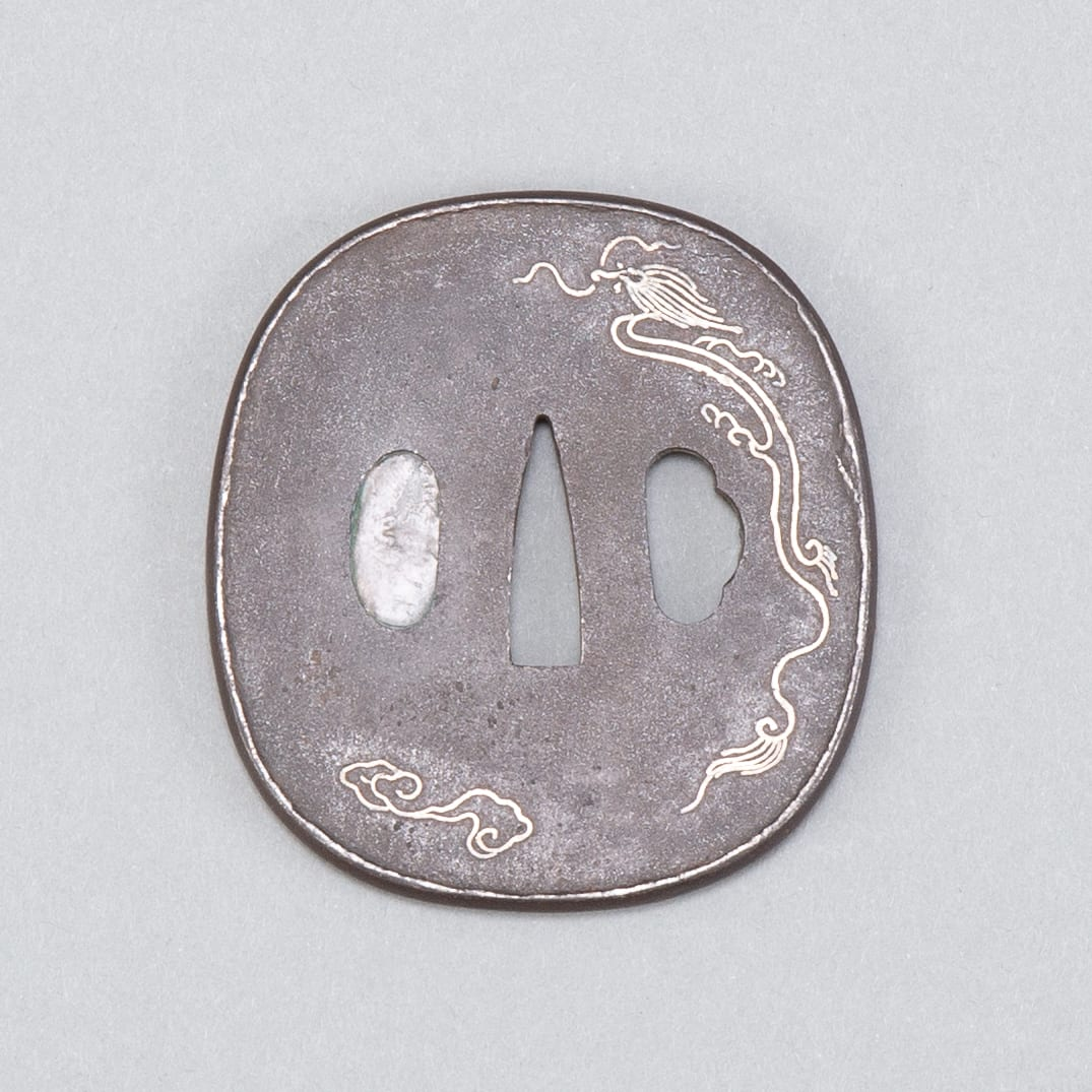 Lot 028: Japanese Edo Period Iron Tsuba with Silver Inlay