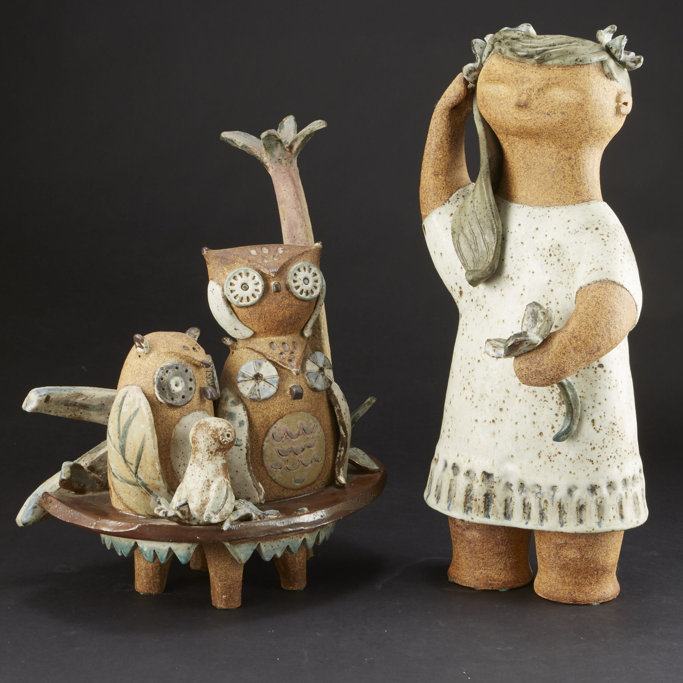 Lot 150: Group of Two Hoshiko Kusudo Ceramic Sculptures