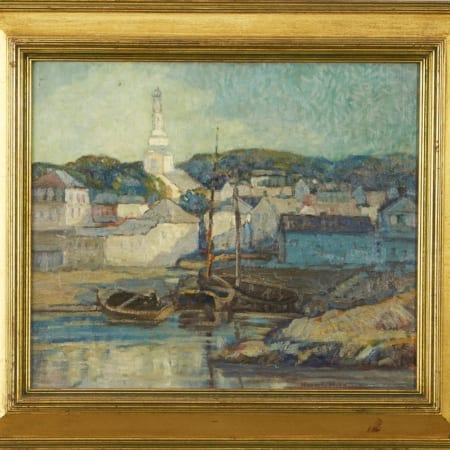Lot 005: Knute Heldner Gloucester Cityscape Oil on Board