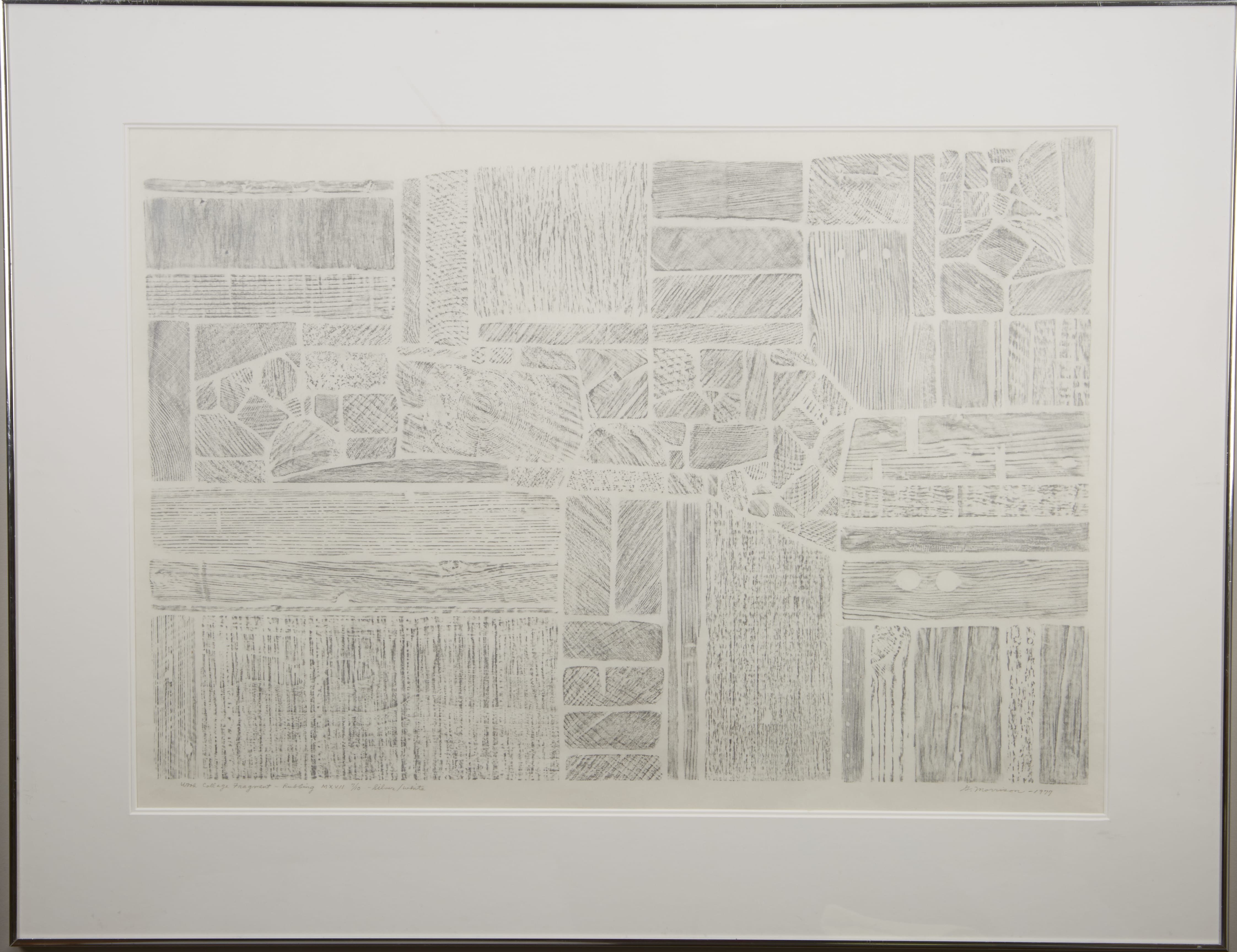 Lot 111: George Morrison Wood Collage Fragment-Rubbing MXVII