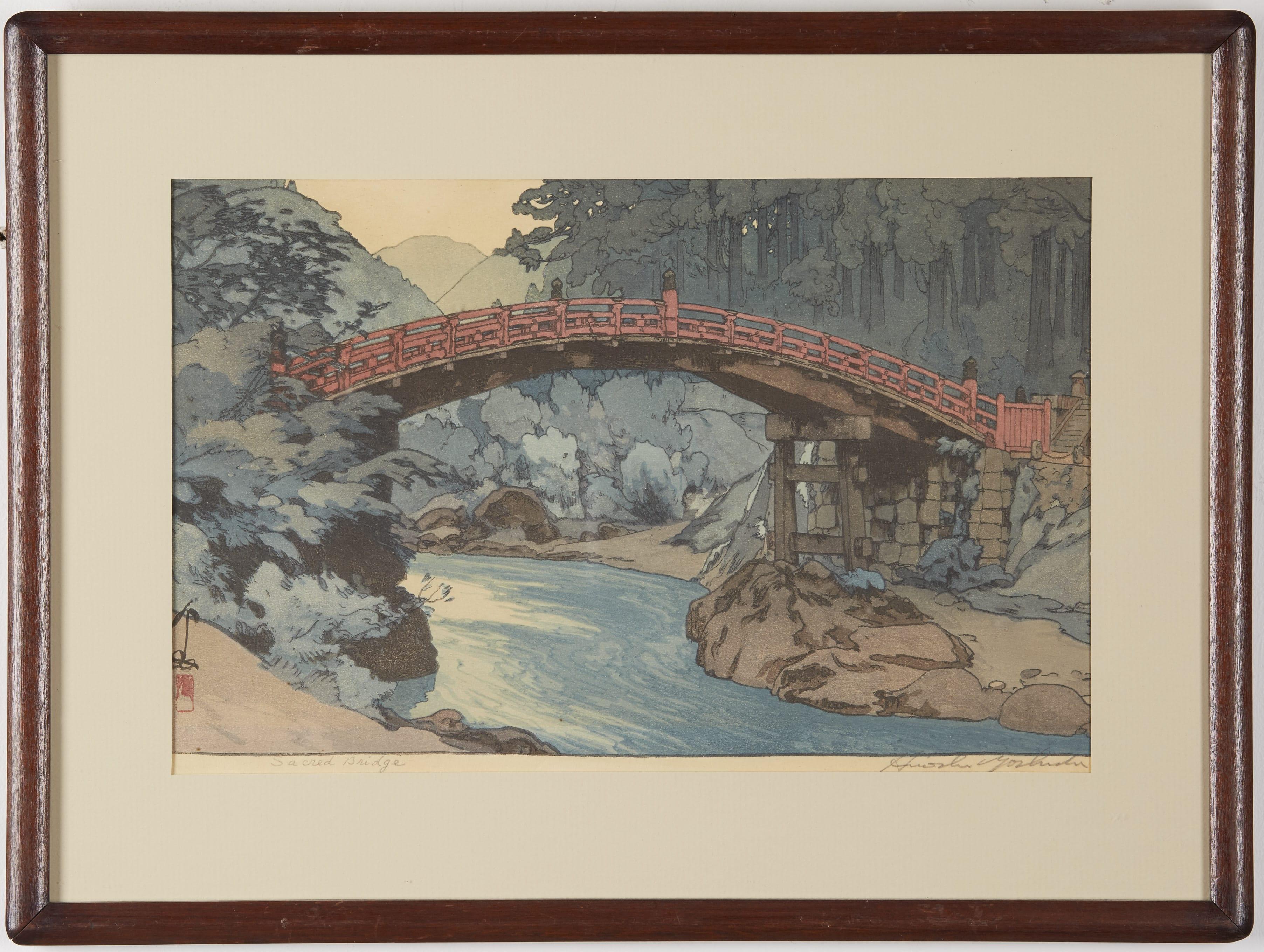 Lot 090: Hiroshi Yoshida Sacred Bridge Woodblock Print