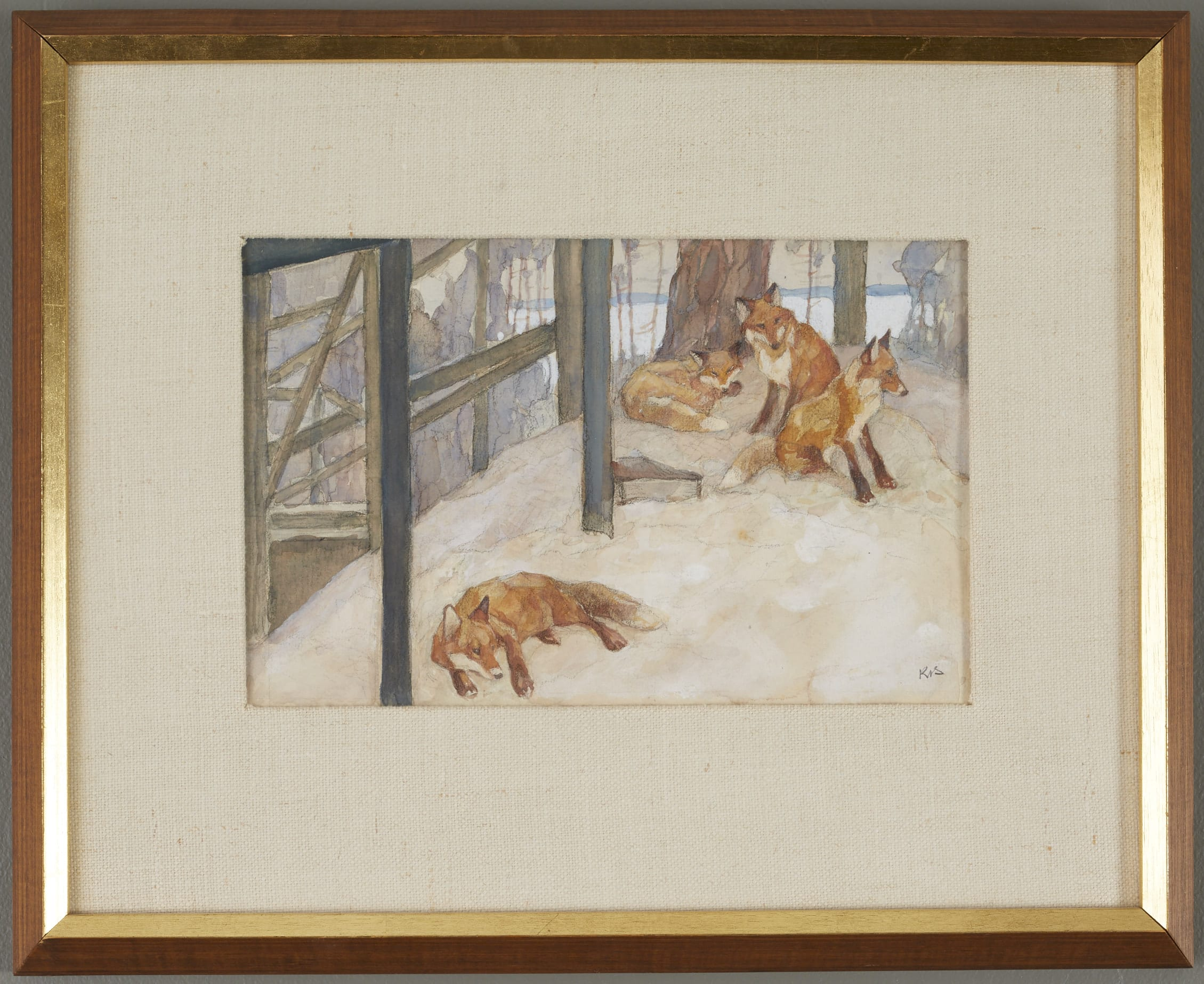 Lot 070: Konstantin Visotsky #13 Foxes Watercolor