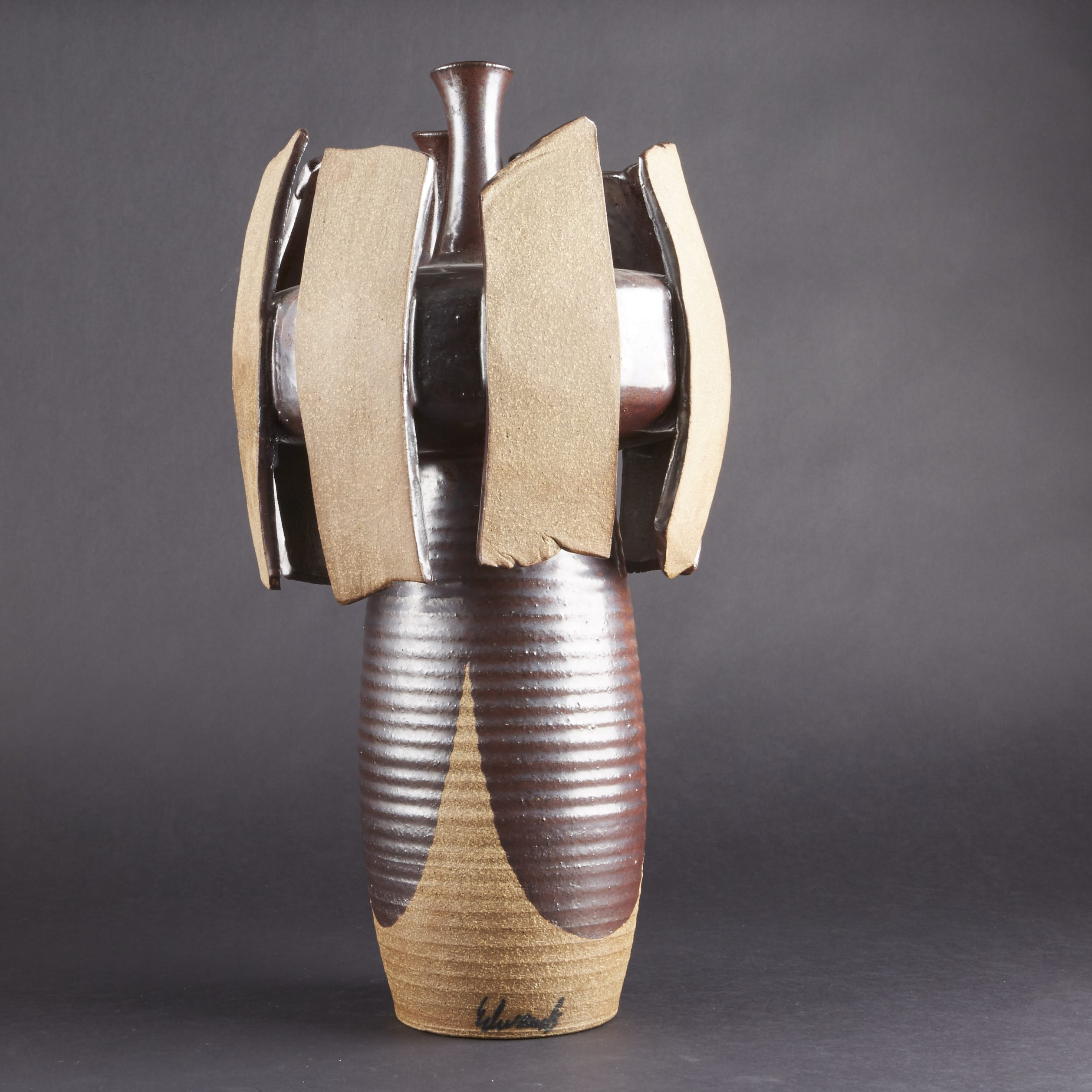 Lot 148: Joel Edwards Triple-Mouthed Vase
