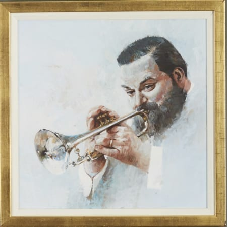 Lot 080: John Berkey Al Hirt Oil on Board