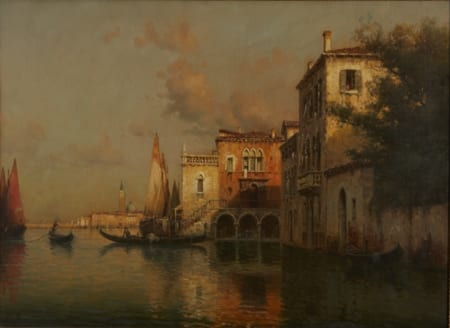 Lot 061: Antoine Bouvard Venice Oil on Canvas