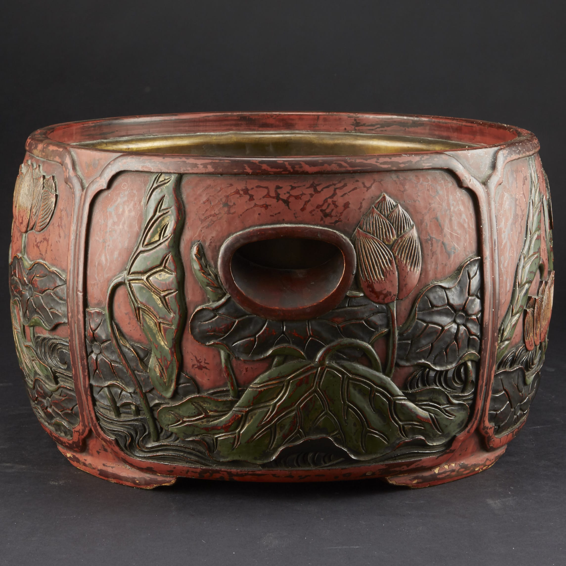 Lot 083: Carved and Lacquered Japanese Hibachi along with other Japanese Lacquer Items