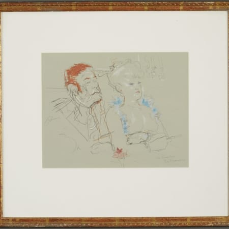 Lot 073: Jack Levine Facing East Mixed Media on Paper