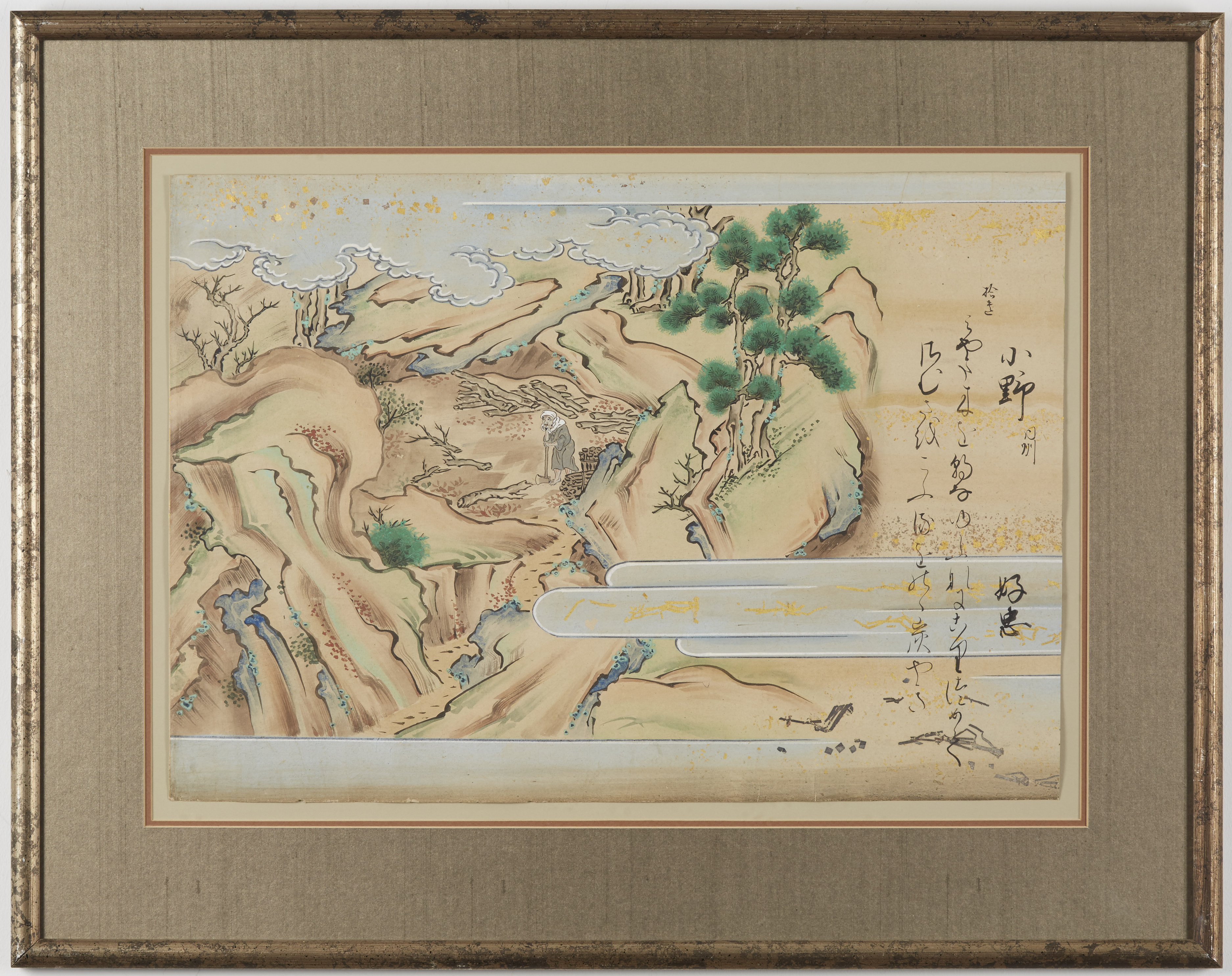 Lot 086: Japanese Meiji Gouache Painting Woodcutter