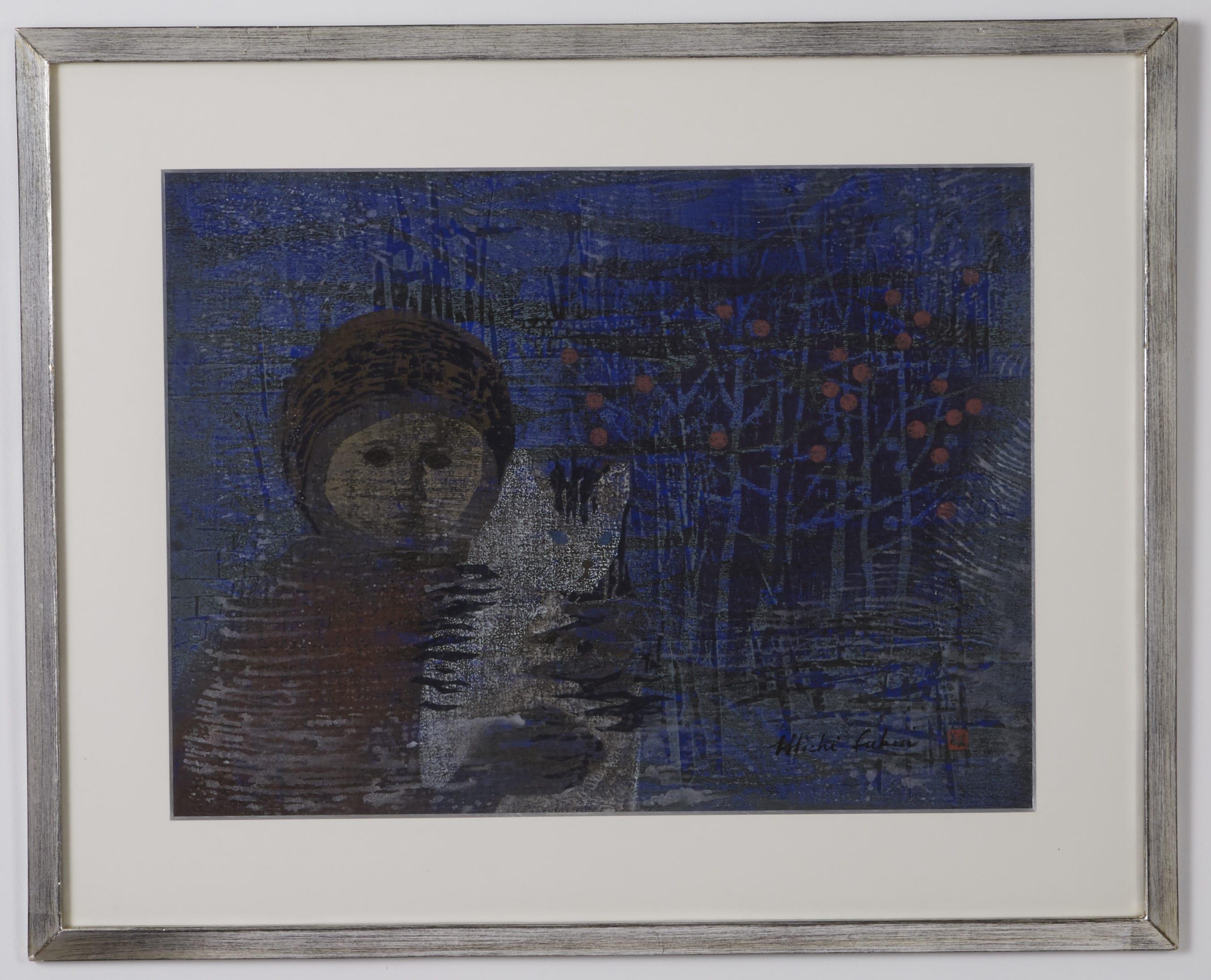Lot 096: Michi Fukui Woodblock Print with Girl and Cat