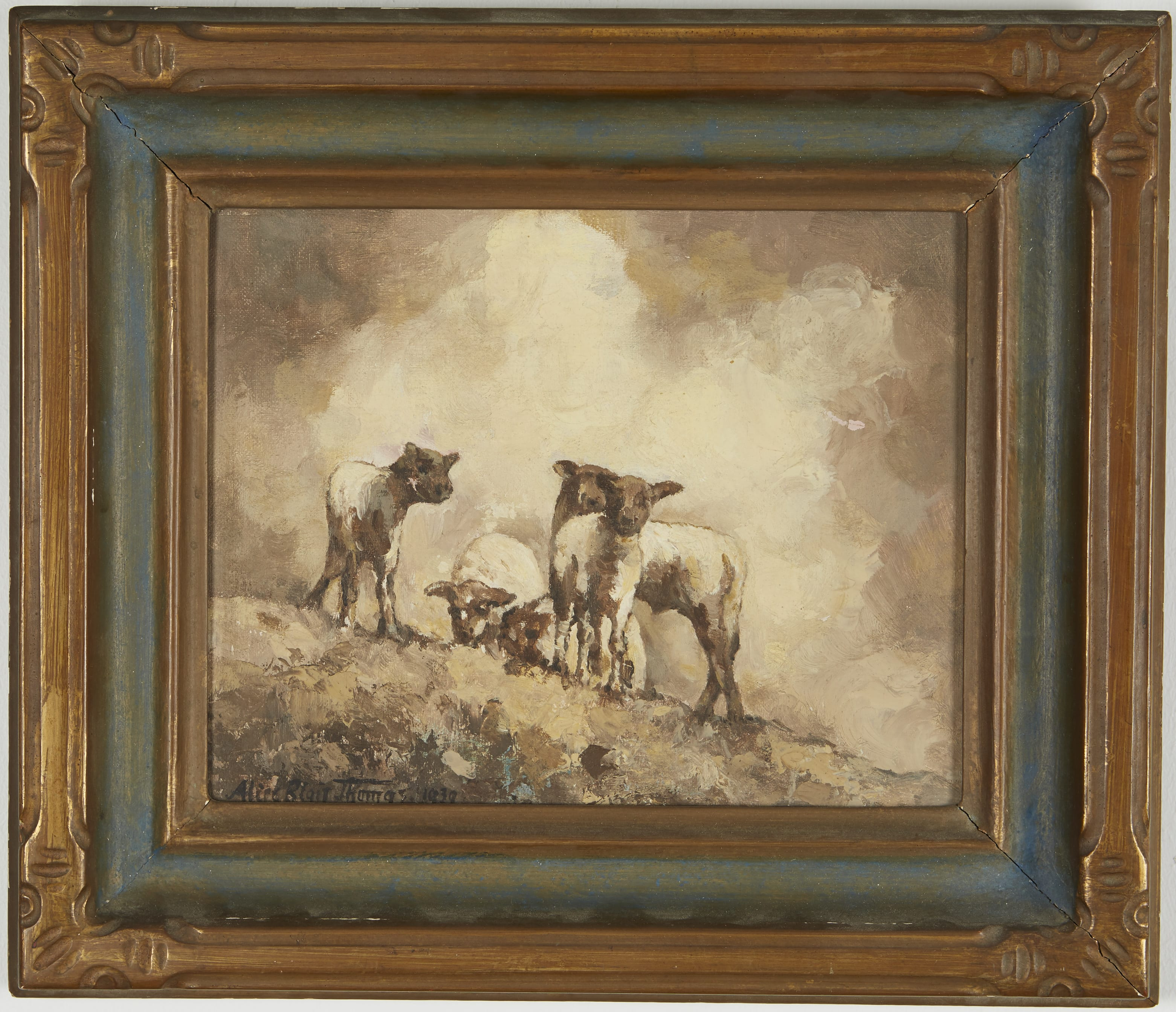 Lot 127: Alice Blair Thomas Sheep Oil on Canvas