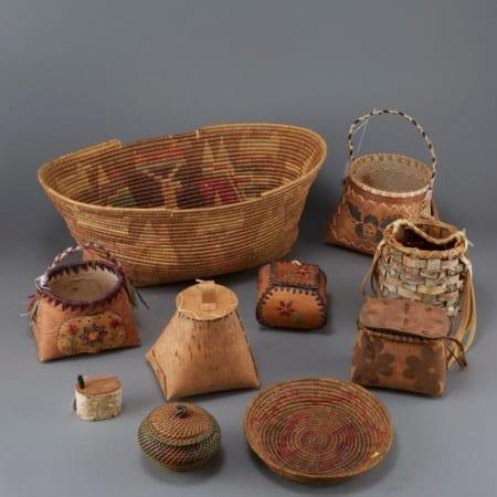 Lot 073: Group of 10 Ojibwe Birchbark and Coiled Baskets