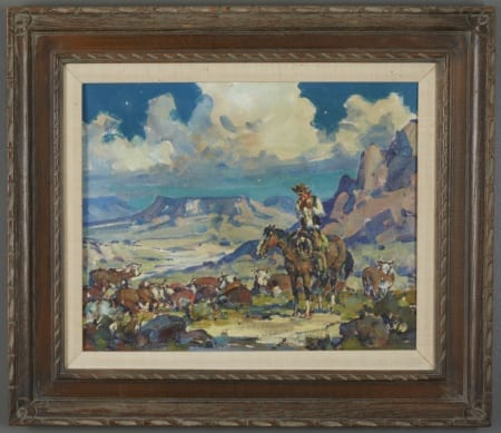 Lot 010: Marjorie Reed Night Herd Oil on Canvas-laid Board