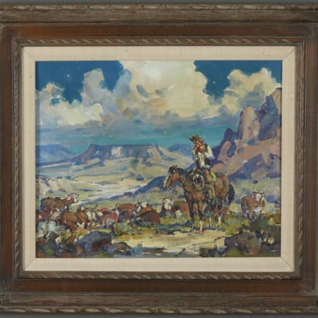 Lot 010: Marjorie Reed Night Herd Oil on Canvas-laid Board