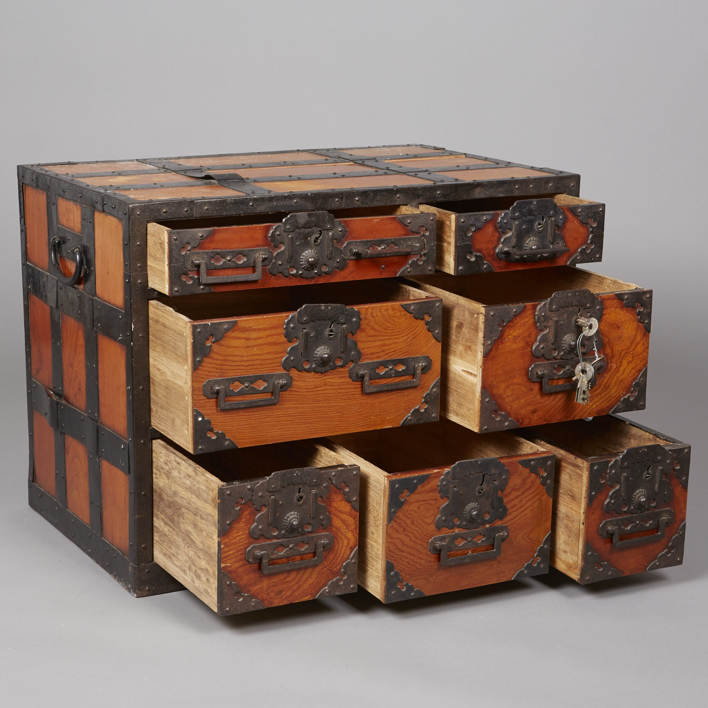 Lot 080: Japanese Meiji Period Tansu with Iron fittings