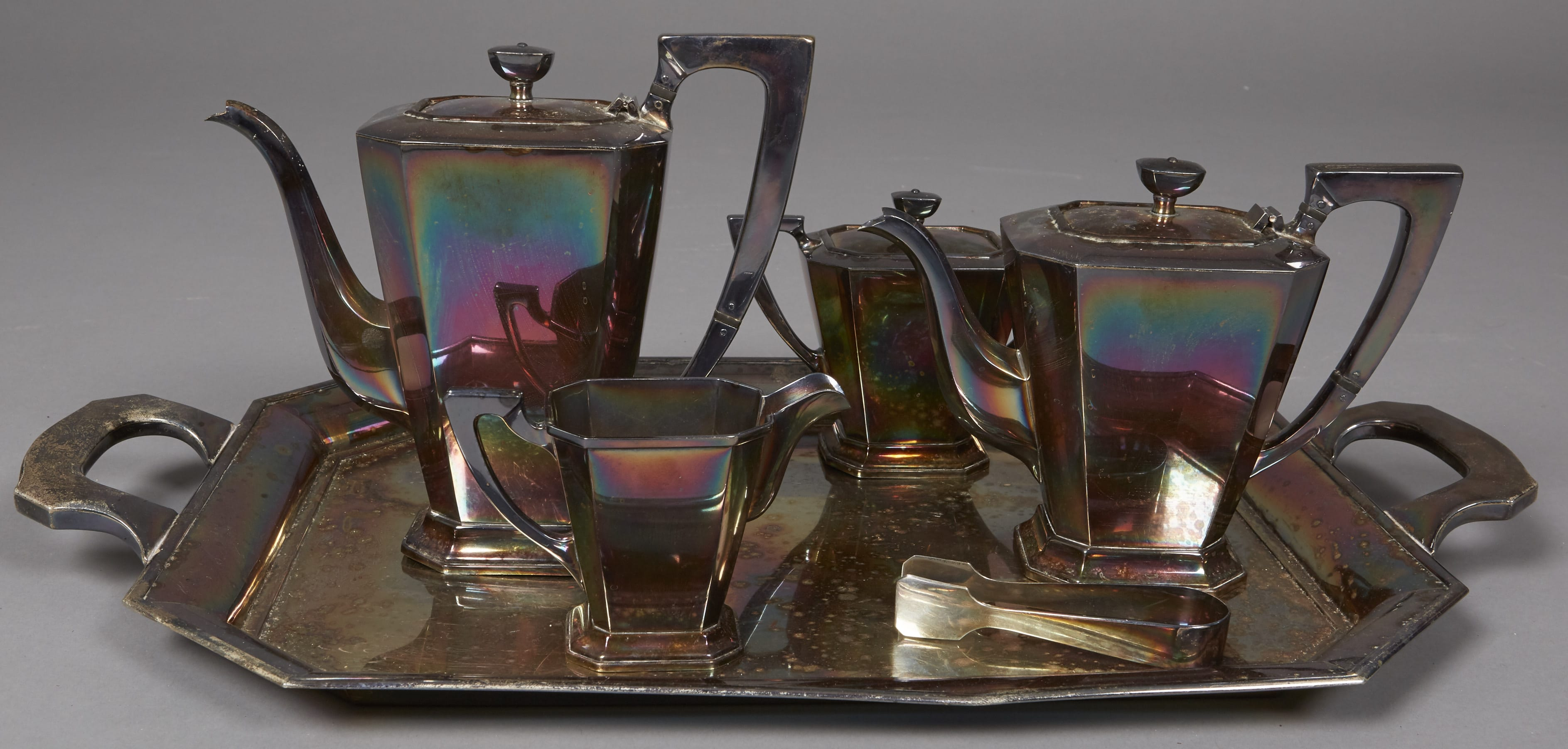 Lot 167: K. Uyeda 6 Piece Sterling Silver Tea Set