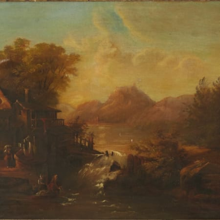 Lot 076: 18th Century Landscape Oil on Panel