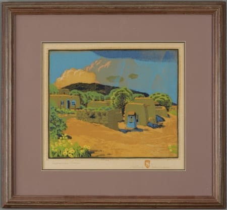 Lot 014: Gustave Baumann Summer Rain Color Woodcut