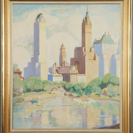 Lot 023: Ernest David Roth The Lake Central Park Oil Painting