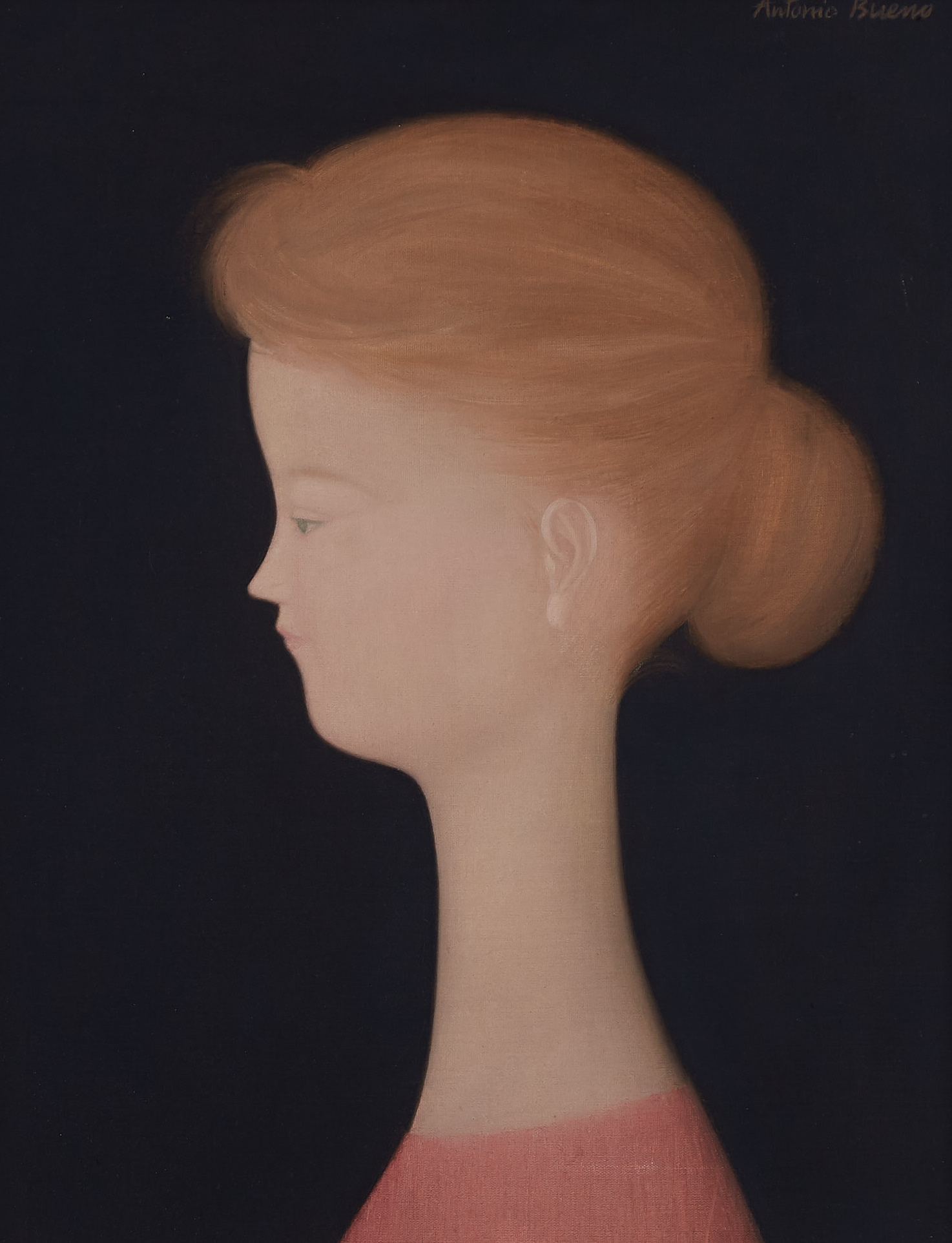 Lot 101: Antonio Bueno Portrait of a Girl Oil on Canvas