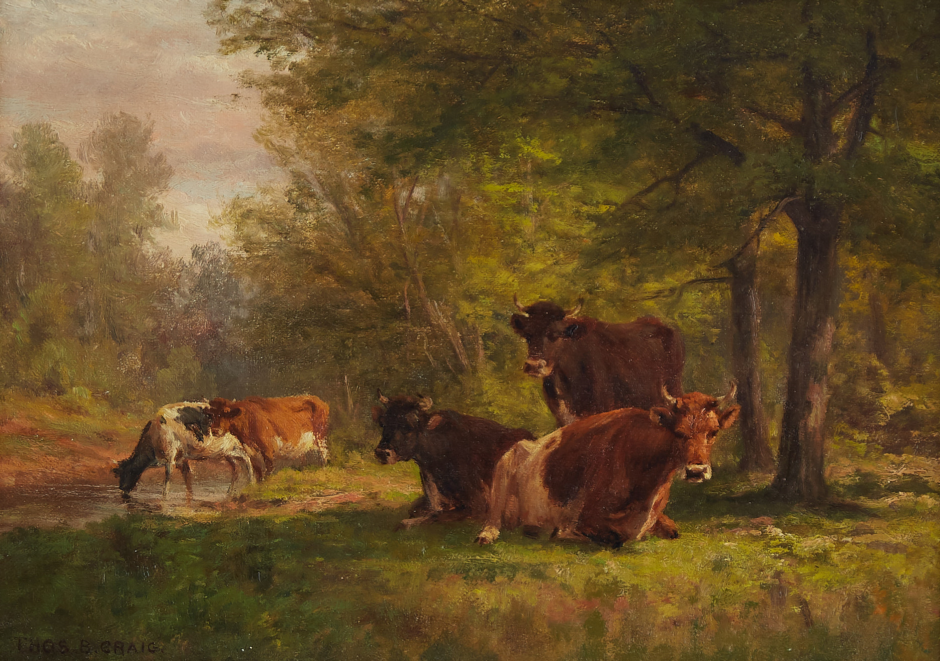 Lot 052: Thomas Craig Cows Oil on Canvas Ornate Frame